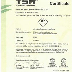 "Certificate ""Safety and Quality tested and supervised by SEV"""